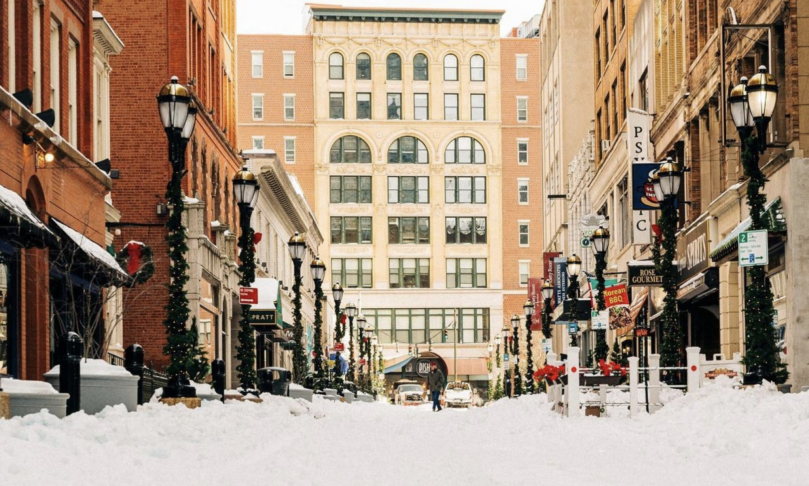 Pratt Street covered in snow after a storm.