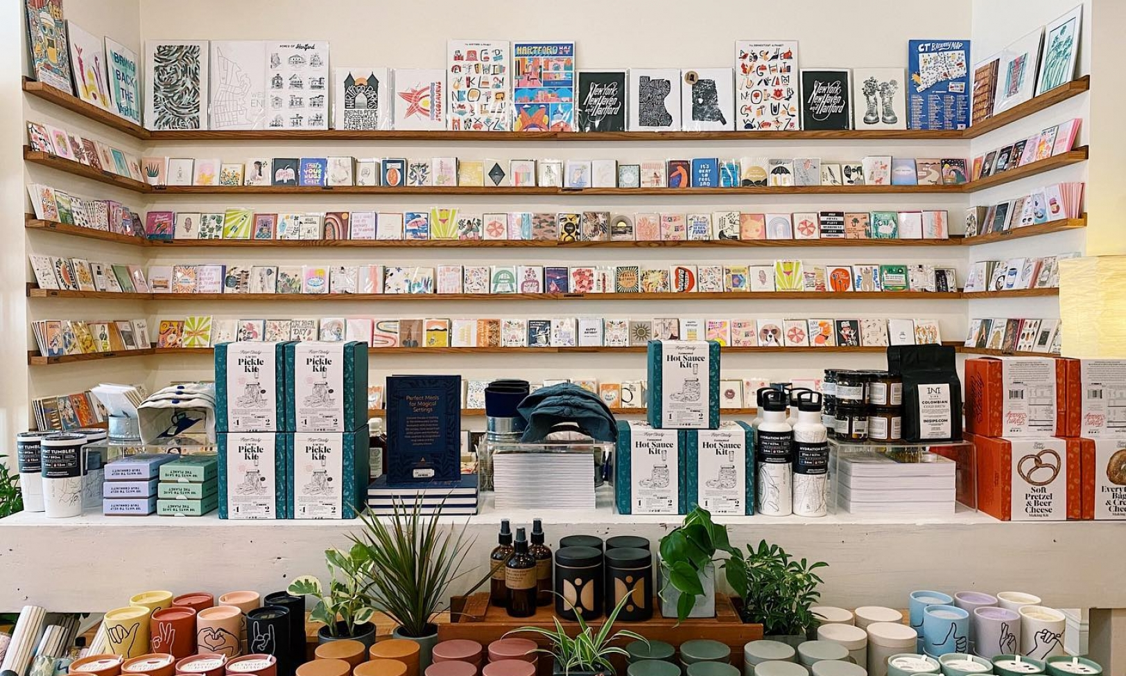 Greeting cards, candles and other knickknacks inside Hartford Prints!