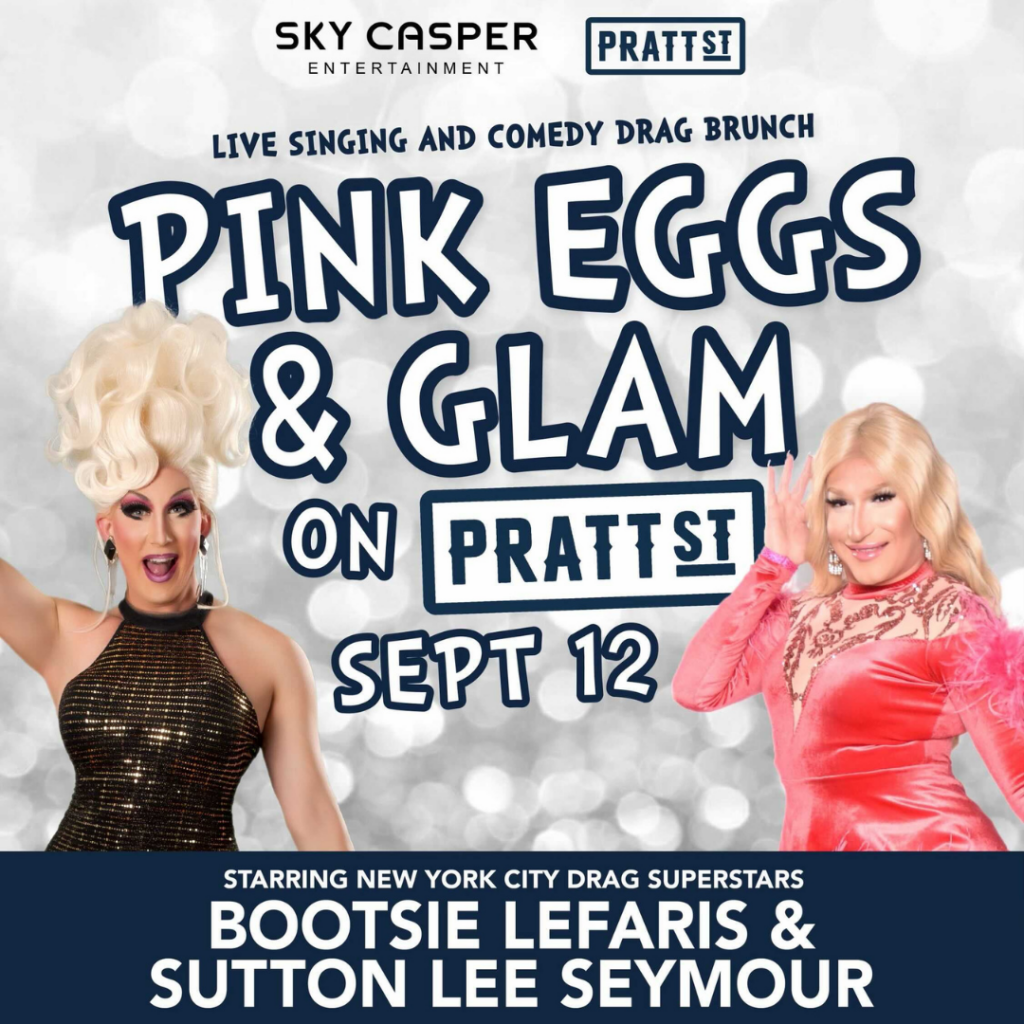 Poster for Pink Eggs and Glam Brunch with the two Queens