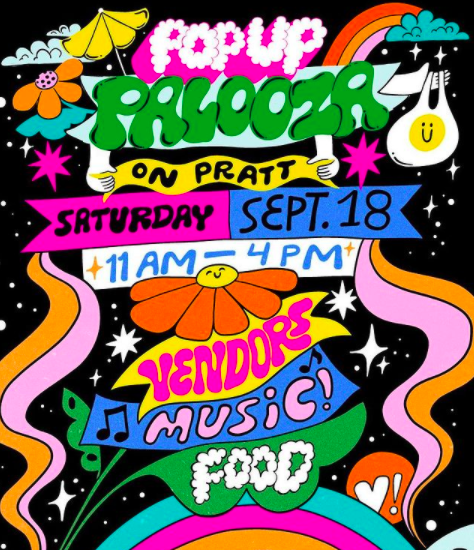 Hippy-style poster with details about the Pop-Up Palooza