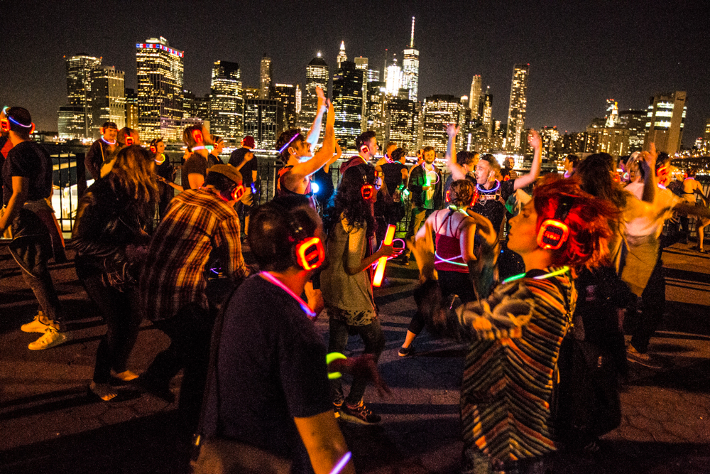 People dancing at a silent disco night in New York City