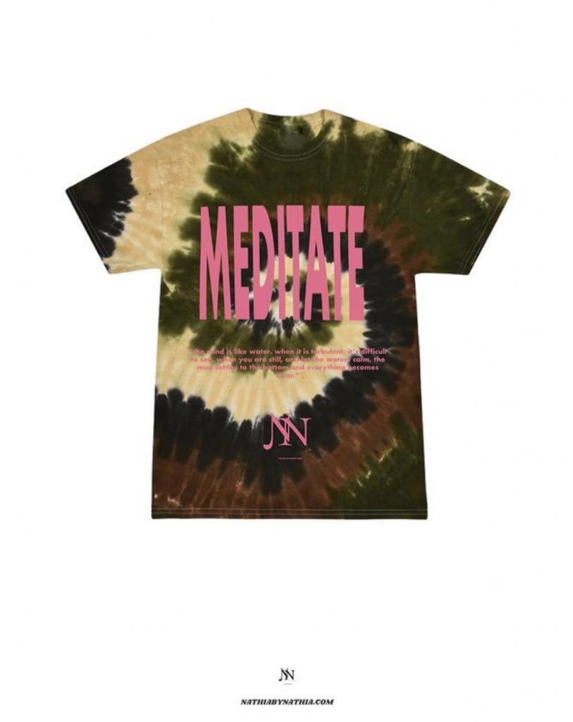 """Tie-dye army colored t shirts with pink text saying """"medidate"""""""